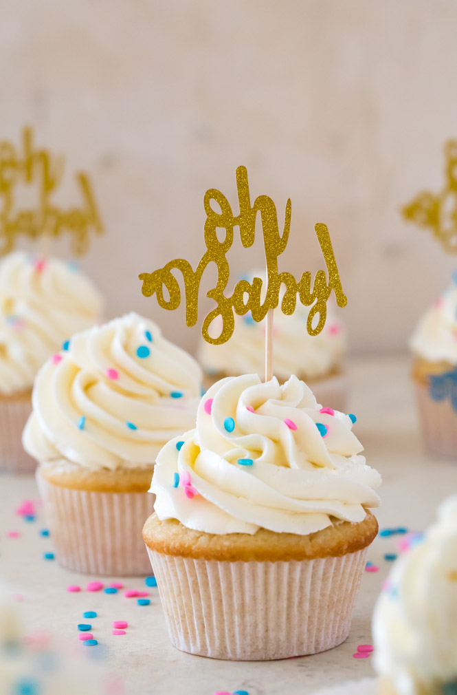 "Vanilla cupcake with white icing and blue and pink sprinkles and gold ""oh baby"" cupcake topper"