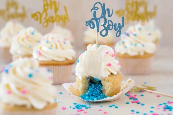 Vanilla cupcake with blue sprinkles in center