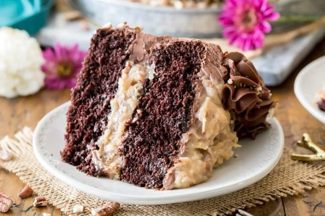Slice of german chocolate cake on white plate