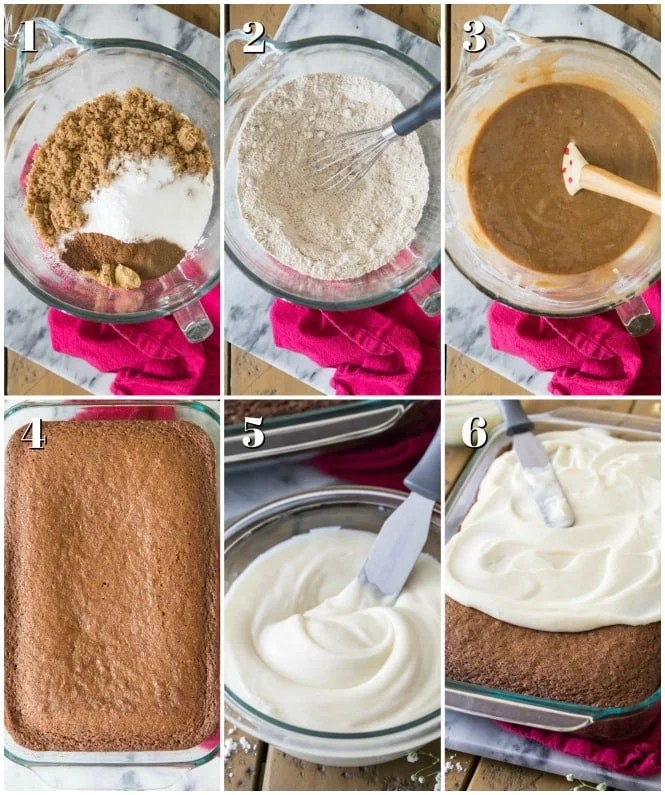 Step by step photos for making spice cake