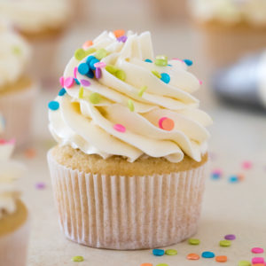 Swiss meringue buttercream on top of cupcake
