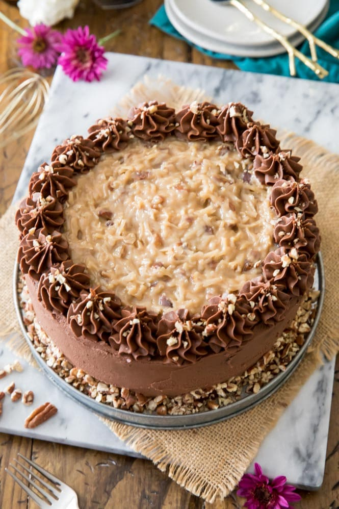 Whole German Chocolate Cake on marble board
