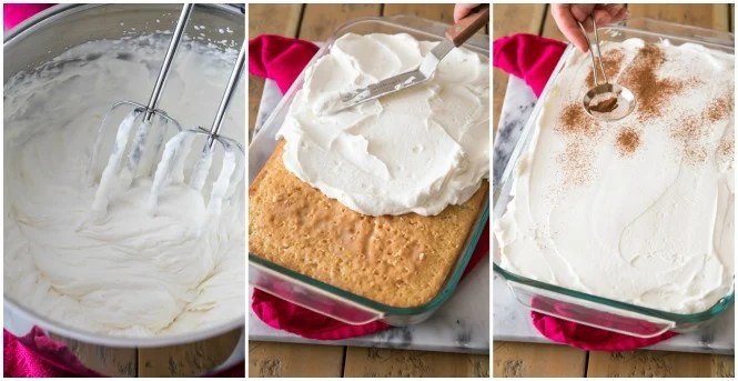 Steps for making whipped cream for topping tres leches cake
