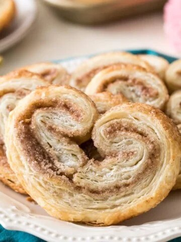 finished palmiers on white plate