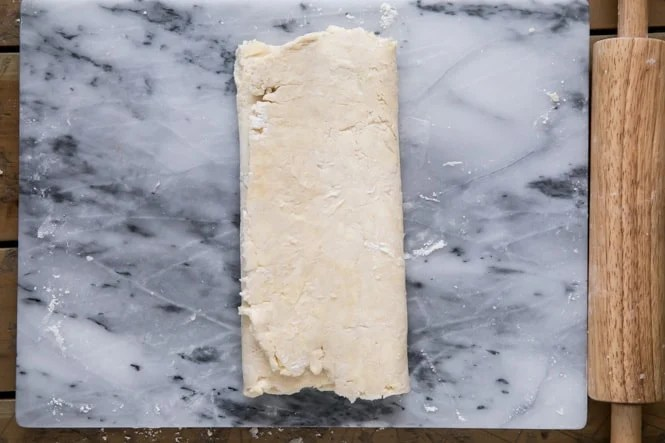 How to make puff pastry: folding over other side, folding into thirds like a letter