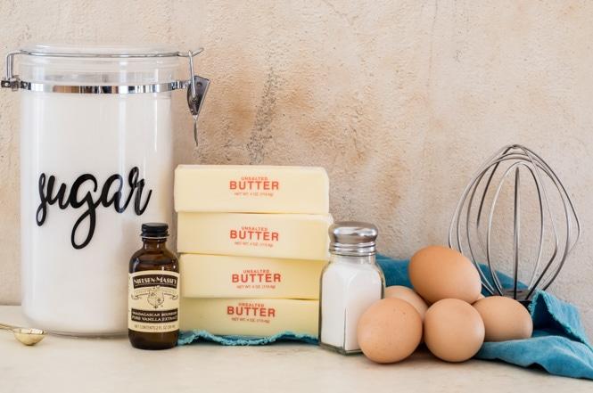 Ingredients for Swiss Meringue Buttercream: Sugar, vanilla, butter, salt, eggs