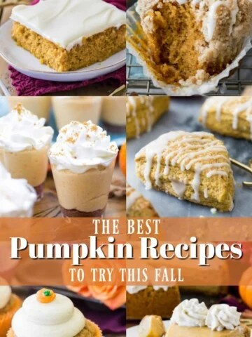 Collage of the best pumpkin recipes for Fall