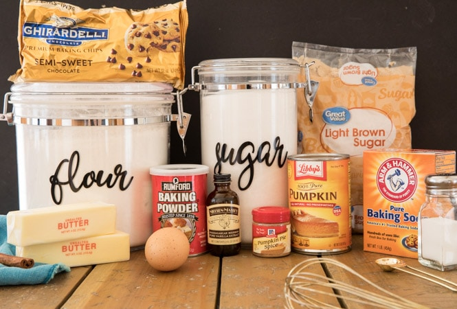 Ingredients needed for pumpkin chocolate chip cookies