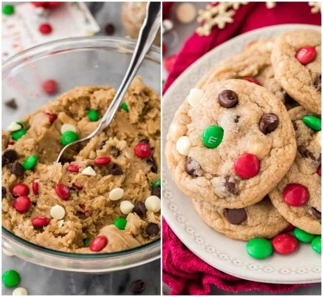 Cookie dough and freshly baked cookies made from cookie mix