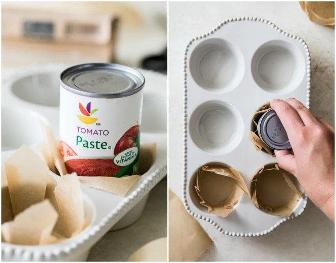 Using a tomato paste can to make muffin liners