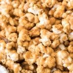 caramel popcorn in shallow dish