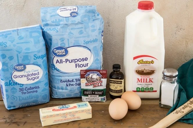 Ingredients for making homemade donuts