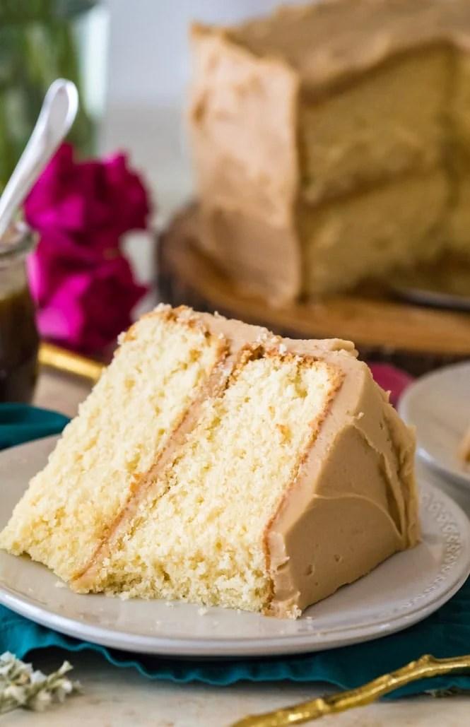 slice of caramel cake on white plate