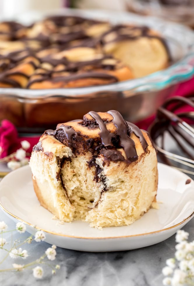 Soft fluffy and chocolate interior of chocolate sweet roll