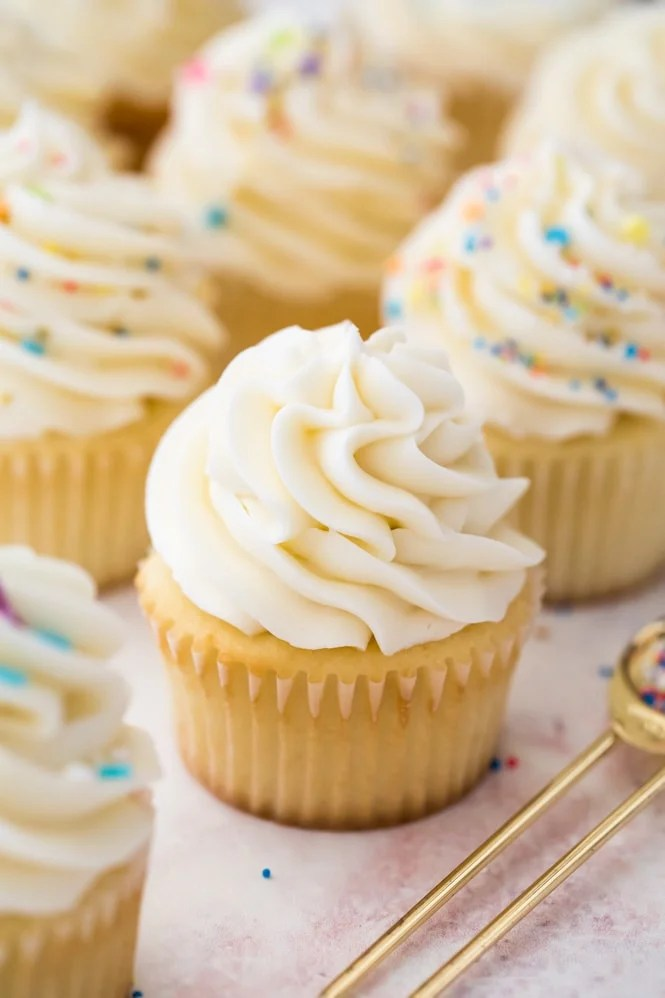 Buttercream frosting on vanilla cupcake