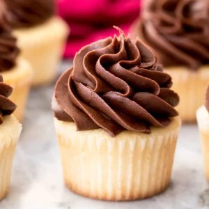Chocolate buttercream frosting on vanilla cupcake