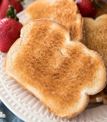 toasted bread on a white plate