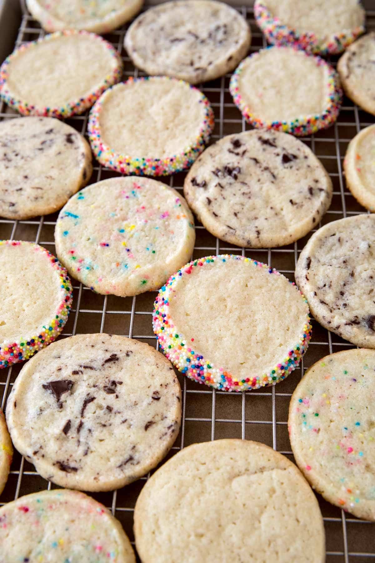 Icebox cookies cooling on cooling rack