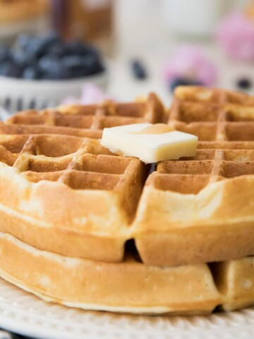 two belgian waffles on a plate