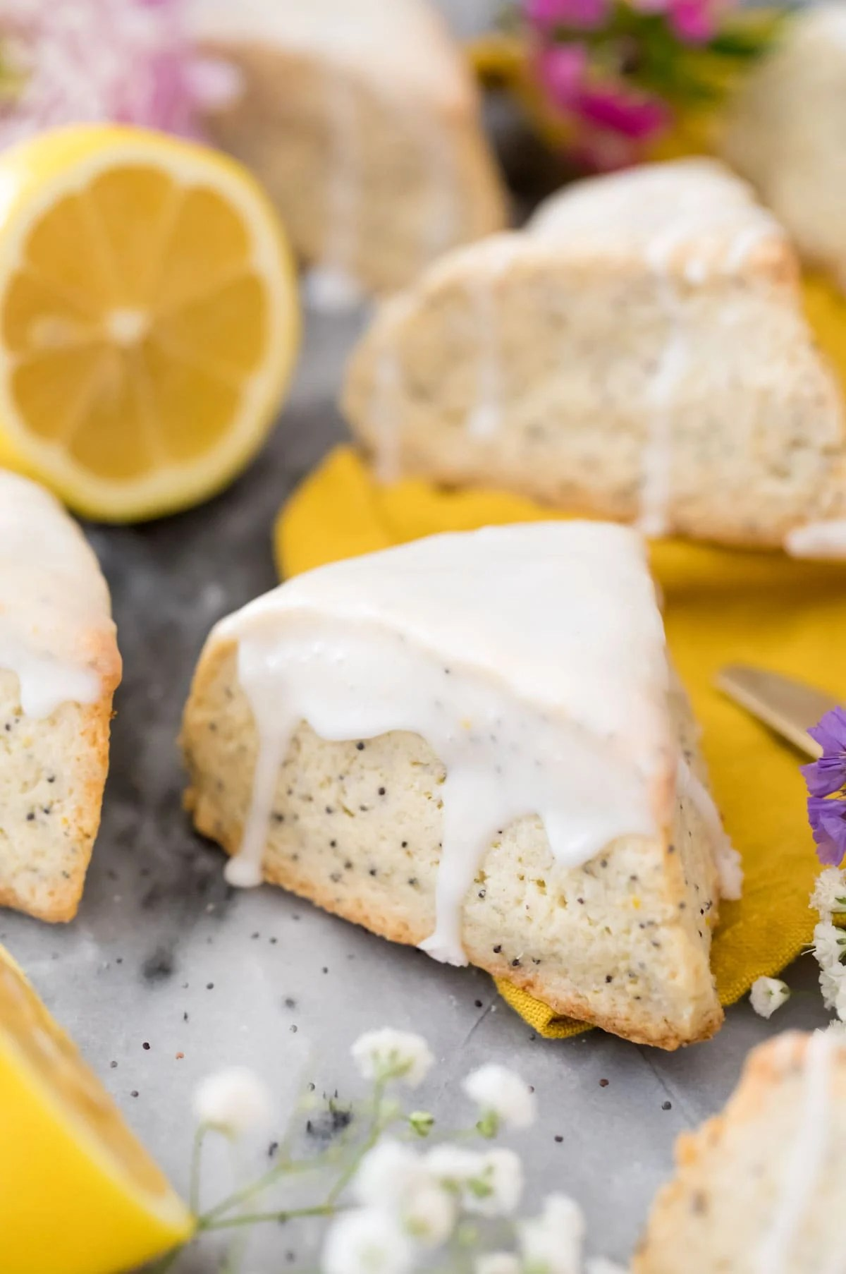 lemon poppyseed scones on marble board