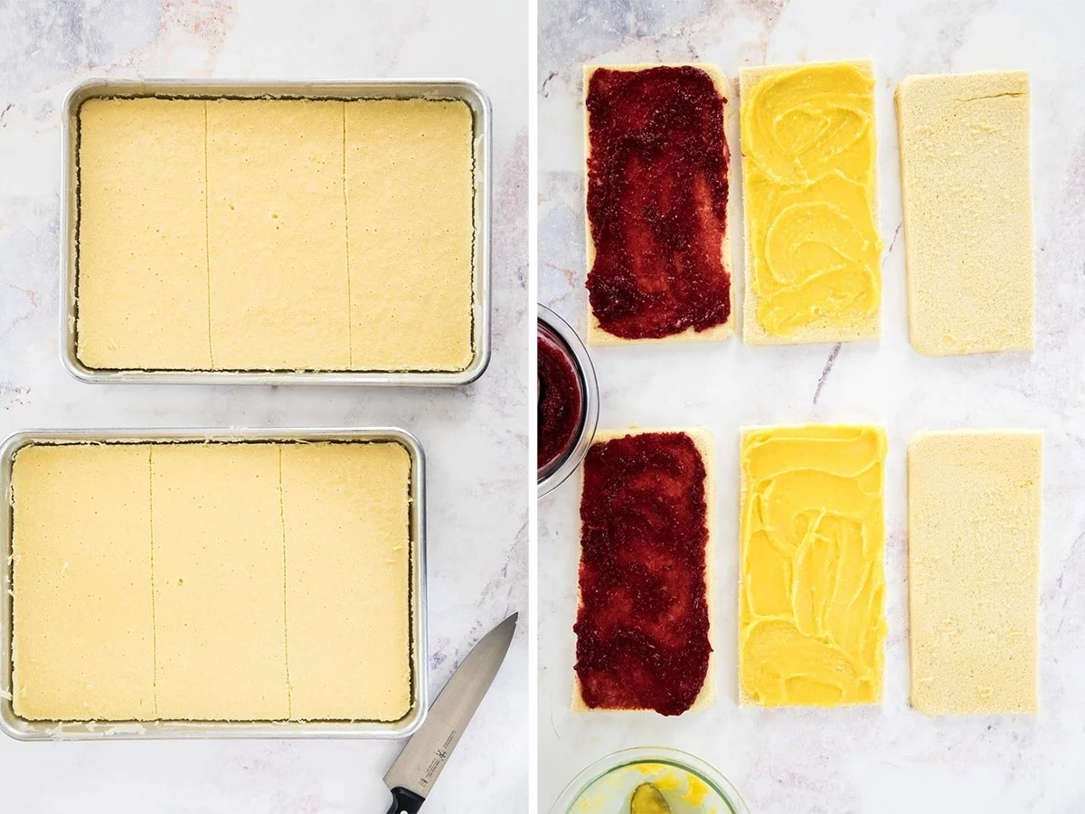 Two images: left, two jelly roll pans with cake. Right, each cake cut into three pieces, one covered with raspberry jam one with lemon curd