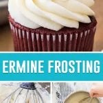 collage of ermine frosting, cupcake with icing on top, process photos underneath