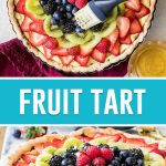 collage of full fruit tart from different angles