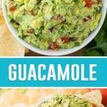 guacamole in white bowl: two photos