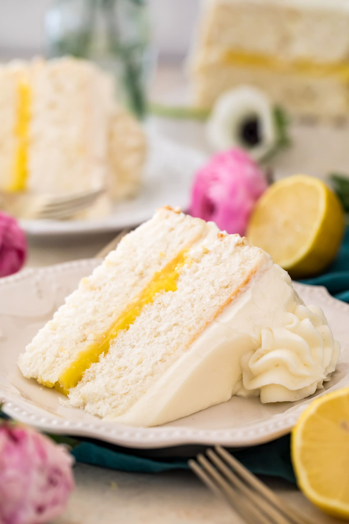 lemon cake on white plate