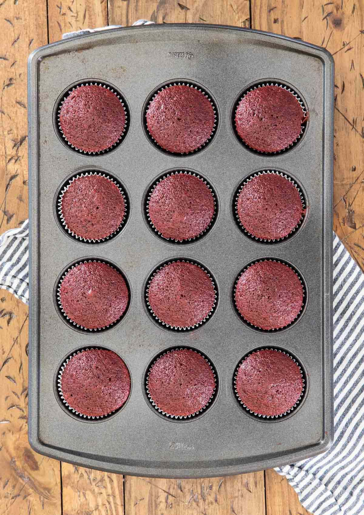 overhead of cupcakes in baking tin