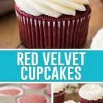 collage of red velvet cupcakes, cupcake with frosting on top, cupcakes with and without frosting on the bottom