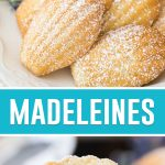 collage of madeleines, top plate full of madeleines dusted in powdered sugar, bottom picture of inside of cookie
