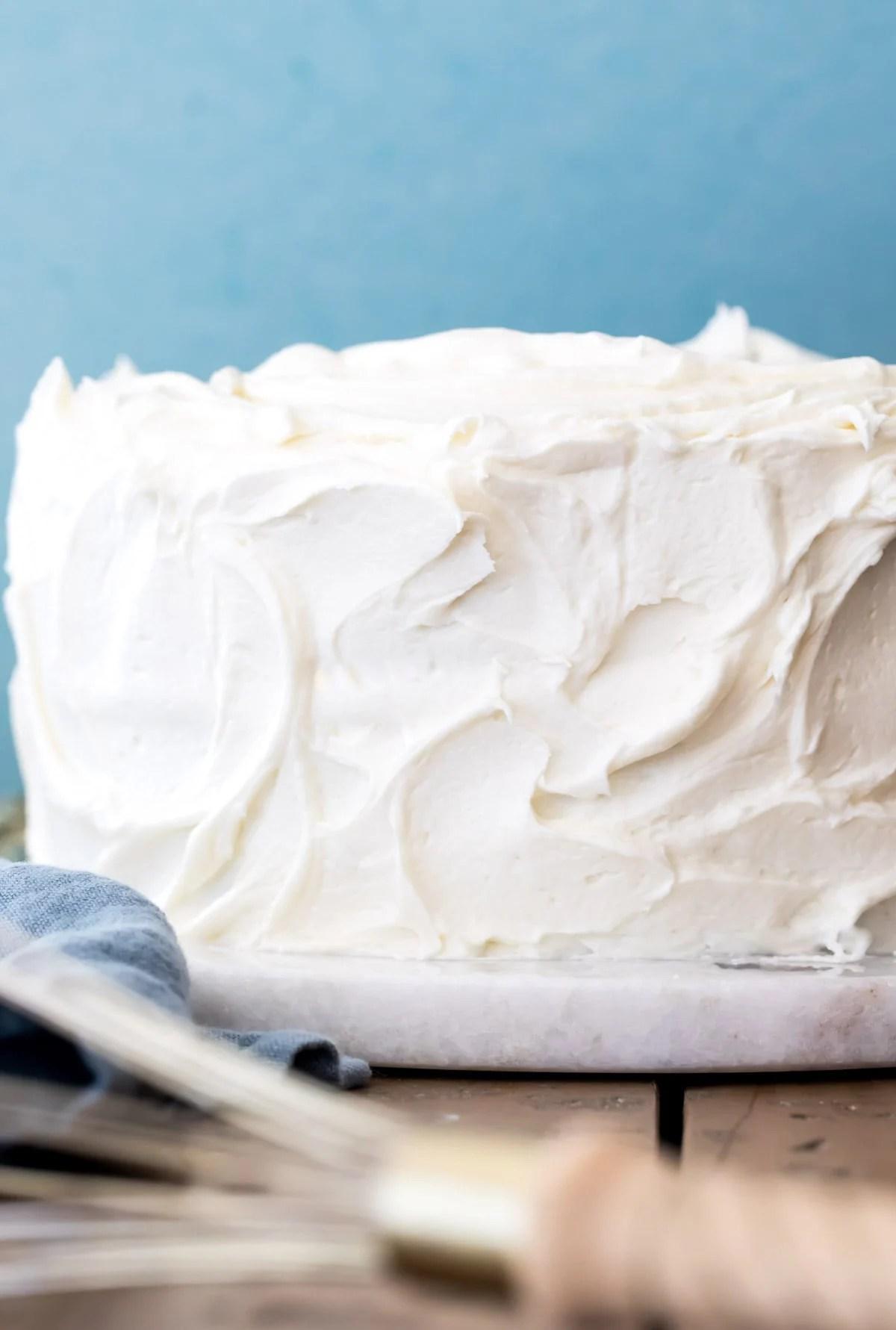 white chocolate iced cake