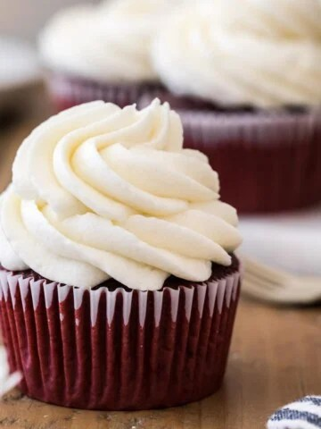 red velvet cupcake with ermine icing