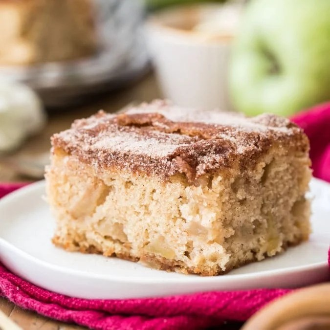 apple cake on white plate