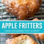 collage of apple fritters, top image of single fritter, bottom image of fritter with bite taken out