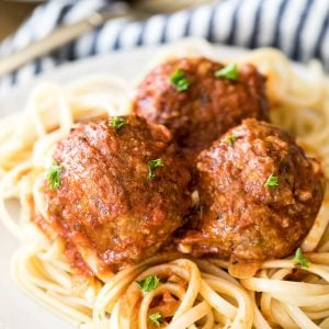 meatballs on linguine