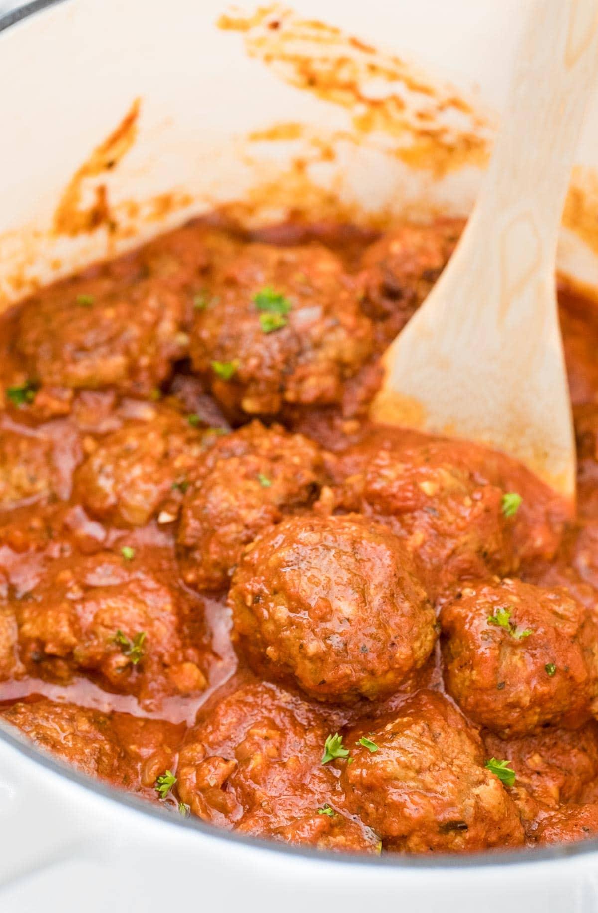 meatballs in pot