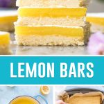 collage of lemon bars, top image is of bars stacked, bottom left image is of lemon filling inside pot, bottom right image is of filling being poured in prepared pan
