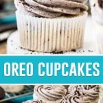 collage of oreo cupcakes, top single image of cupcake on white plate, bottom image of 6 cupcakes next to baking rack