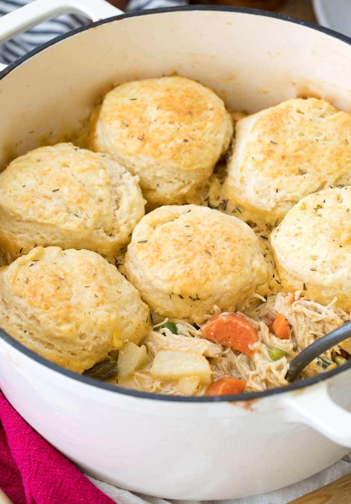 biscuits on top of pot of pot pie