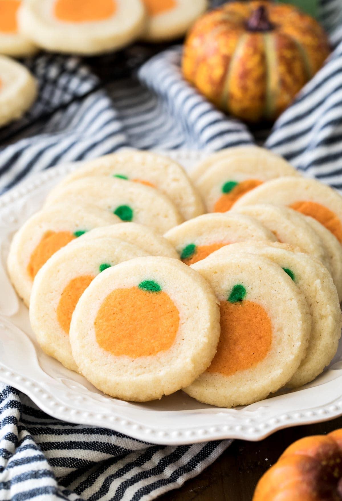 pumpkin surprise cookies on white plate