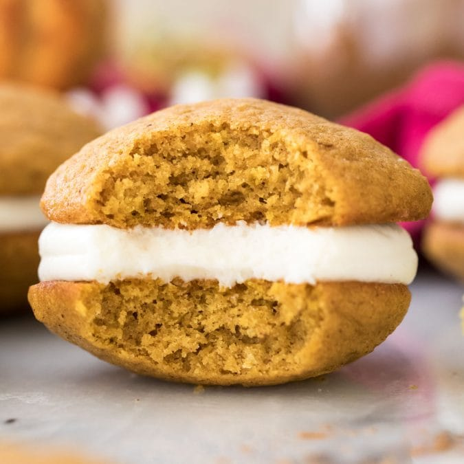 pumpkin whoopie pie with bite missing
