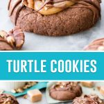 collage of turtle cookies, top image of single cookie, bottom image of multiple cookies on cutting board with pecans