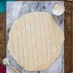 cutting pie dough into strips
