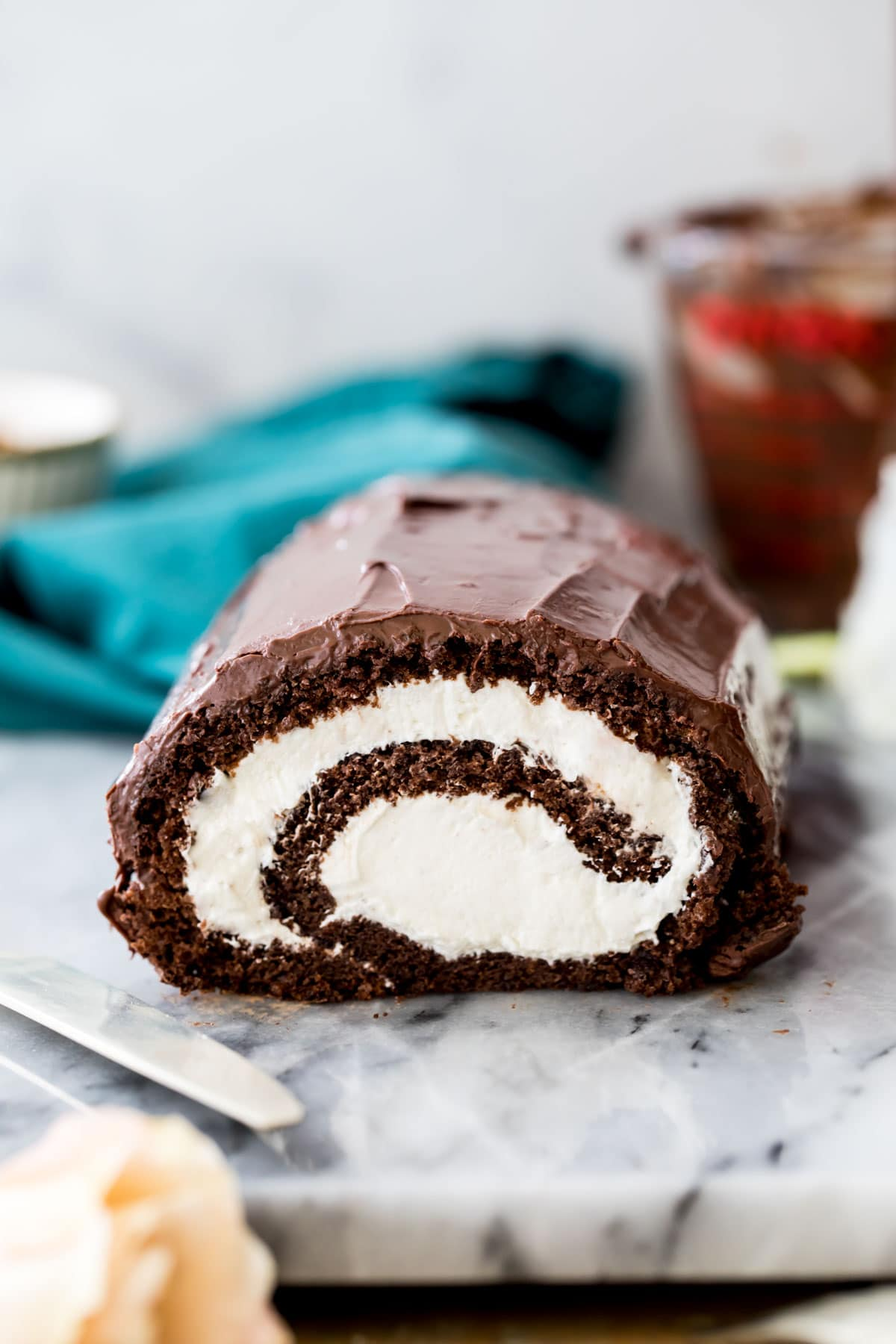 Swiss roll on marble