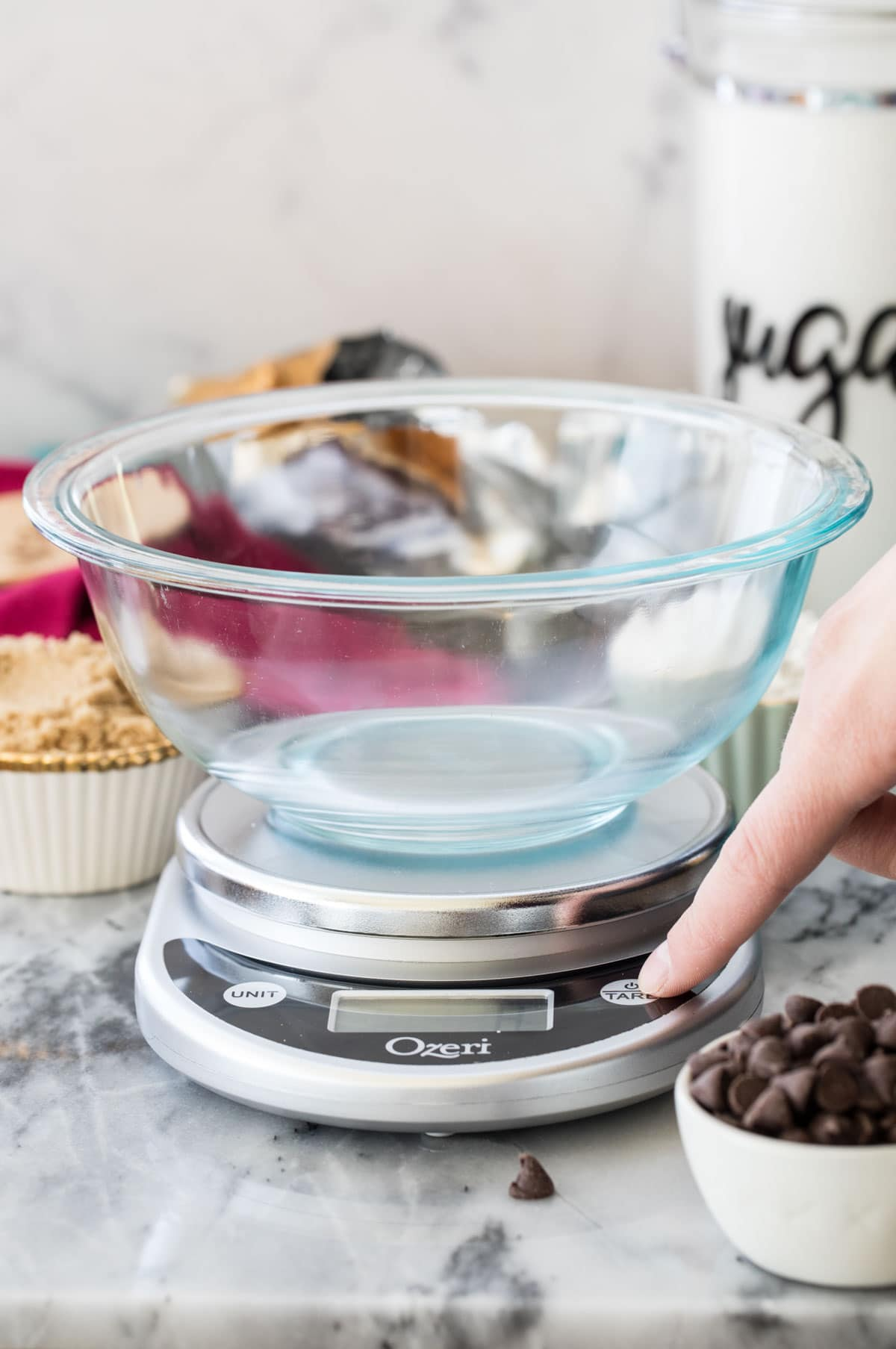 pressing power button on kitchen scale