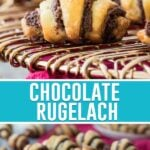 collage of chocolate rugelach, top image is a close up of one cookie, bottom is of several cookies on wire rack