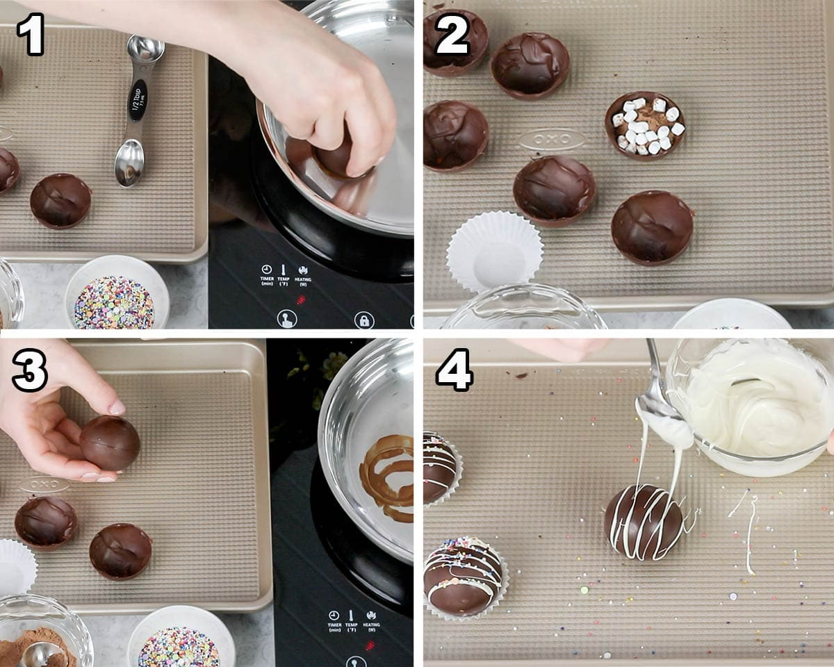 filling and assembling hot chocolate bombs collage