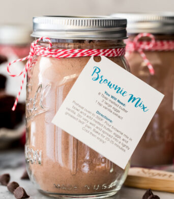 brownie mix in jar with blue instruction tag